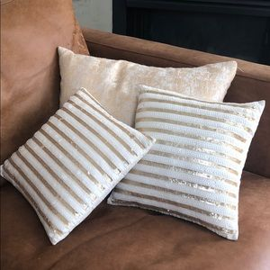 Gold and cream accent pillows (set of 3)